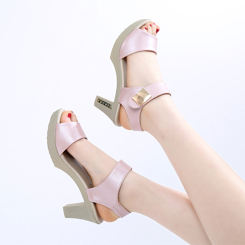 ab74773fb3c1b6 LISM women Sandals 2018 Summer New Thick bottomed High heeled Fish mouth  Fashion Waterproof Rome Women s shoes Large yard-in High Heels from Shoes  on ...