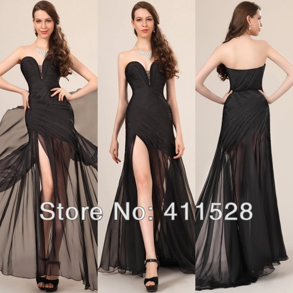New Arrival Sexy Long Chiffon Dress High Slit Sweep Train Black