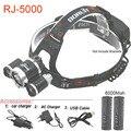 RJ5000 USB СВЕТОДИОДНЫЕ Фары Отдых На Природе Рыбалка Головная лампа CREE T6 2R 8000LM СВЕТОДИОДНЫЕ фонари на 2 шт. 18650 аккумуляторная батарея с зарядное устройство