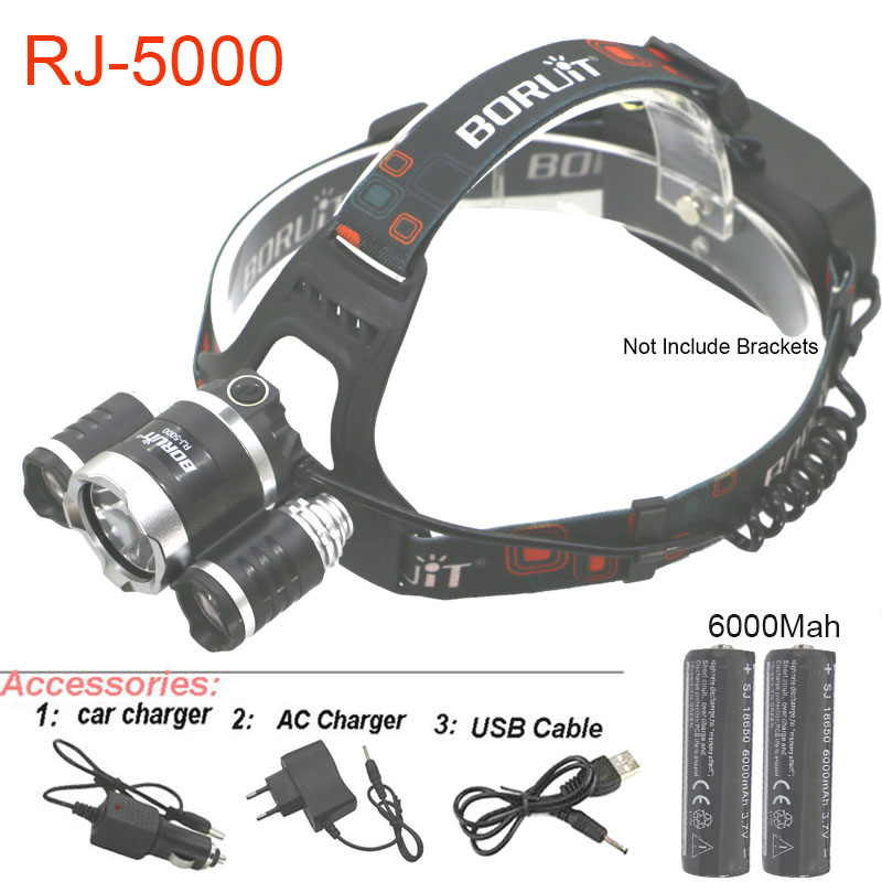 T6 8000LM LED Headlamp 3-head Camping Headlight 18650 Battery+Charger+USB Cable