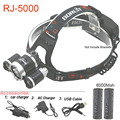 RJ5000 USB LED Headlight Camping Fishing Head lamp CREE T6 2R 8000LM LED lights by 2pcs 18650 rechargeable battery with charger