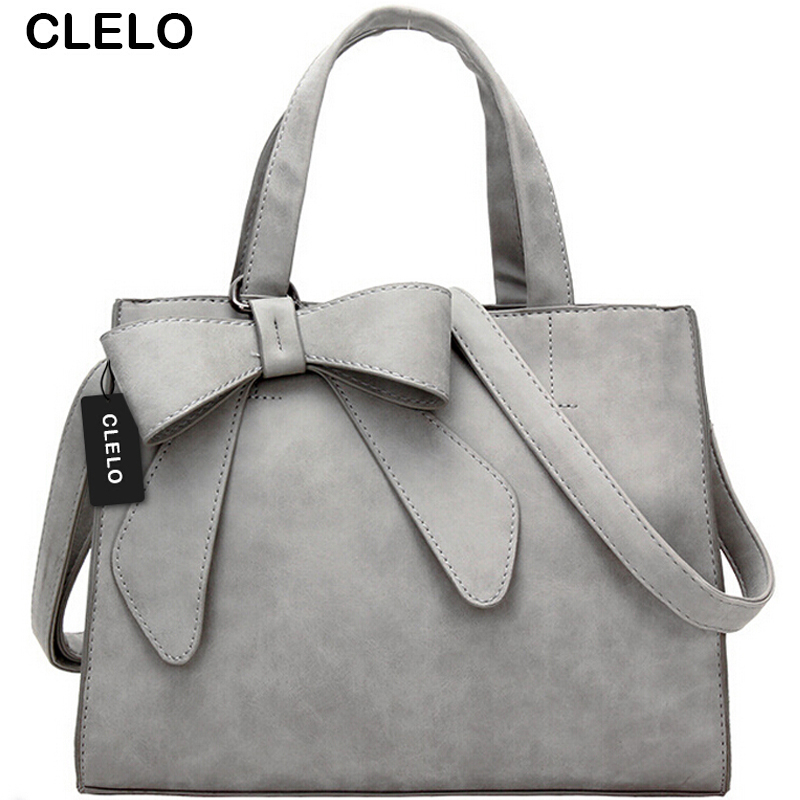 CLELO Luxury Brand Tote Bag Women Handbags Shoulder Messenger Pink Bow Bag Female High Quality Crossbody Purse Bags Grey Handbag византийская армия iv xiiвв