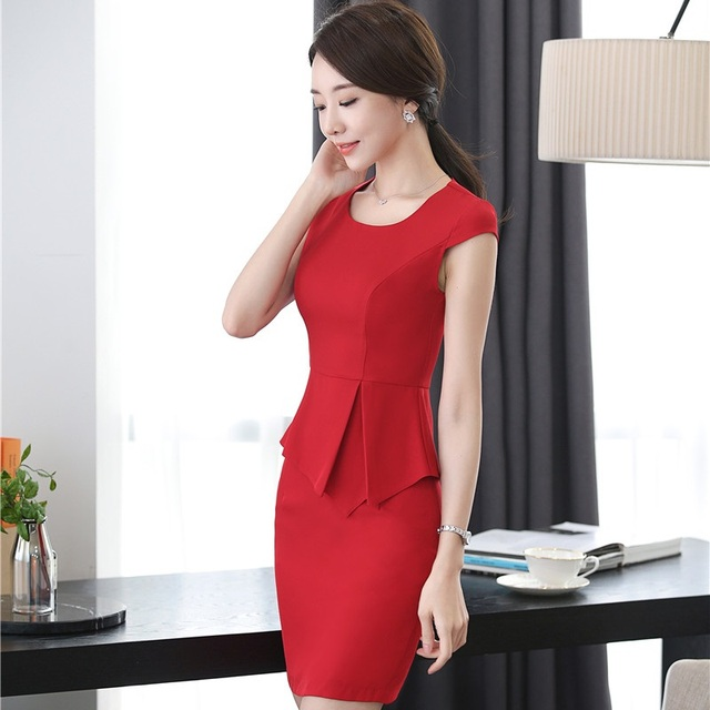a4beaee2ae3a1 US $34.98 10% OFF|Novelty Red Slim Fashion Summer Short Sleeve Skirt Suits  With 2 Piece Tops And Skirt OL Styles For Ladies Office Women Plus Size-in  ...