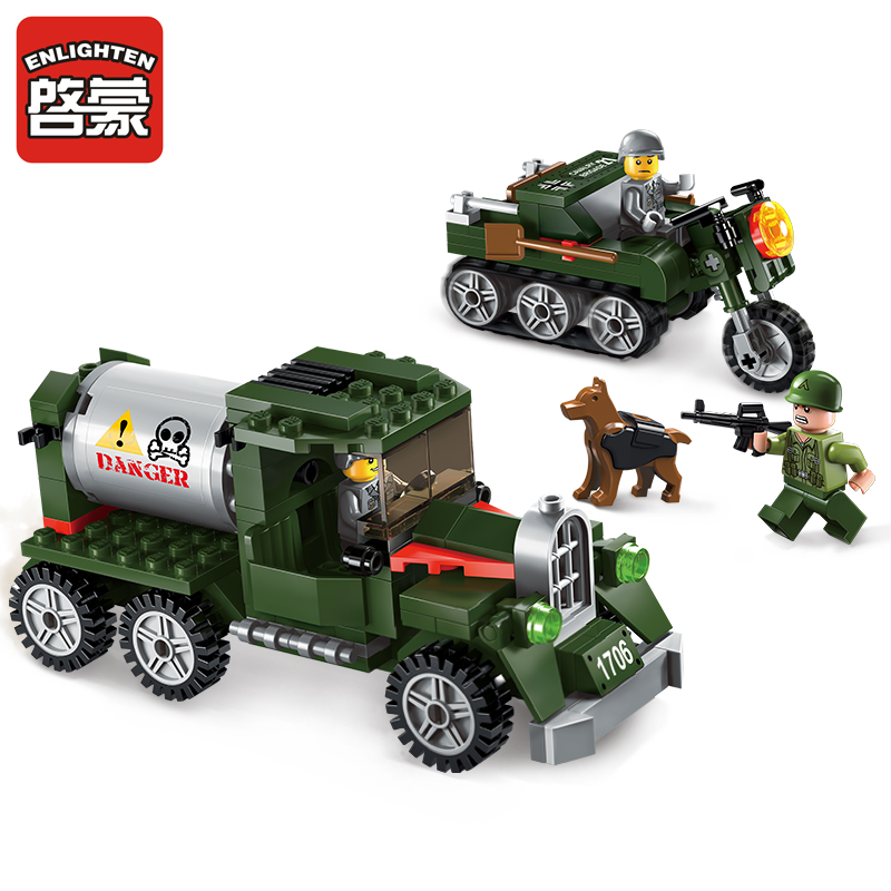 223pcs Enlighten building blocks Military series boys car model toys for children  Compatible Lego mini Educational lepin blocks enlighten building blocks military cruiser model building blocks girls