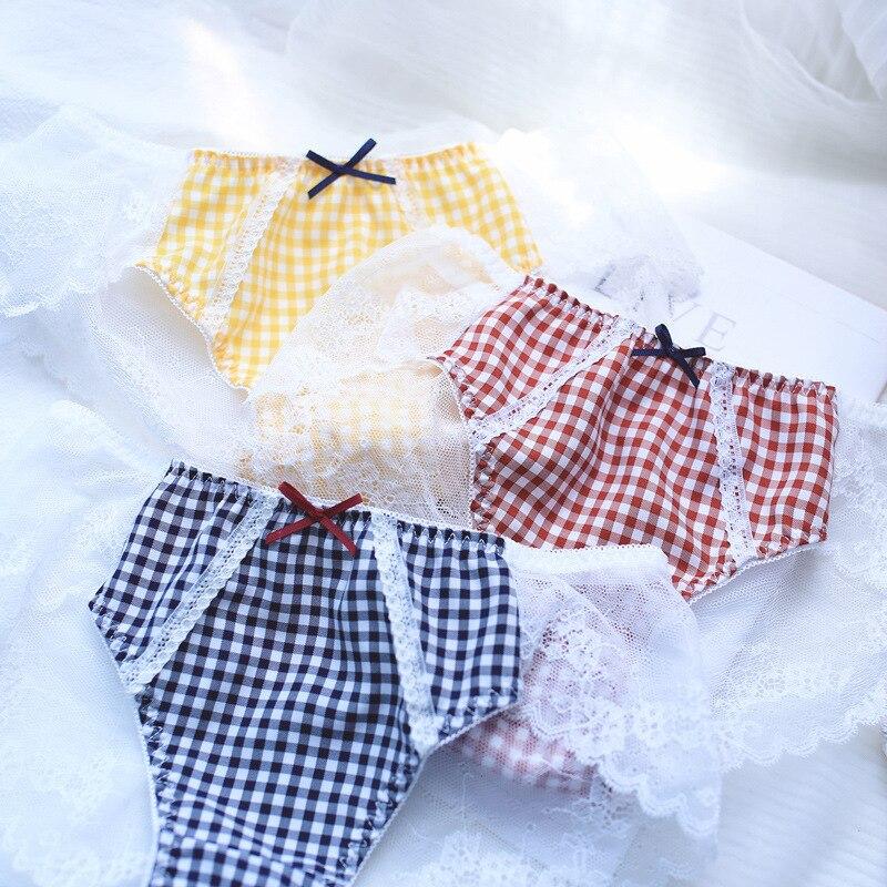 SP&CITY Vintage Plaid Cute Lace Panties Women Sweet Transparent Underwear Women Sexy Seamless Crotch Cotton Briefs Lingerie