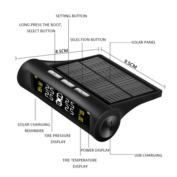 New Car TPMS Tyre Pressure Monitoring System Solar Powered Digital LCD Display Auto Security CSL2018
