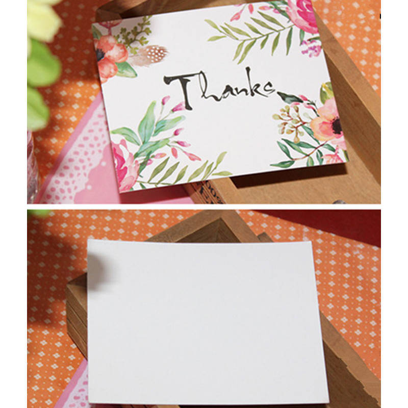 DoreenBeads New Greeting Card Flower Postcard Birthday Party Business Festival Thank You For Lover Friend Teachers 50PCs/Pack