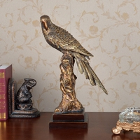 Europe Style Retro High Quality Creative home decoration craft drawing room parrot sculptures animal fake bronze resin sculpture