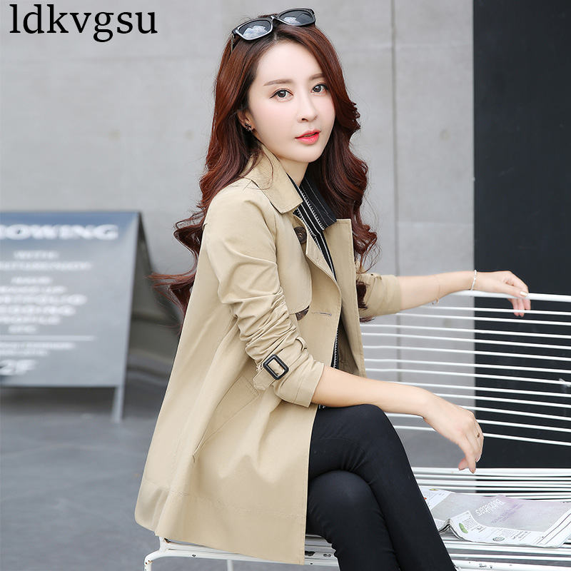 2020 New Spring Autumn Coat Short Paragraph Windbreaker Female Plus Size XS-4XL Korean Trench Coats For Women Outerwear V238