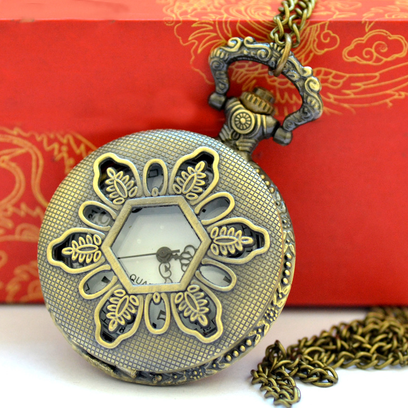 Bronze Vintage Quartz Pocket Watch Design Trend Hexagonal Hollow Sunflower Quartz Pocket Watch With Necklace 9012