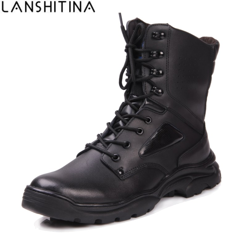 2018 Cow Leather Boots Military Tactical Combat Army Men Boots Desert Botas Hiking Autumn Shoes Travel Outdoor Leather Boots