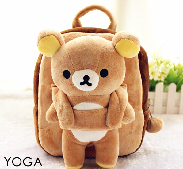 1 PC 25 cm engraçado dos desenhos animados Rilakkuma urso de pelúcia boneca mochilas estudantes pequeno bolsa de ombro bolsa de presente de brinquedo