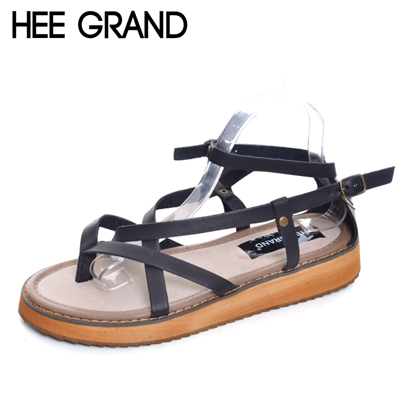 HEE GRAND Platform Gladiator Sandals Split Leather Summer Flip Flops Creepers Shoes Woman Buckle Flats Size 35-43 XWZ2111 gladiator sandals 2017 summer style comfort flats casual creepers platform pu shoes woman casual beach black sandals plus us 8