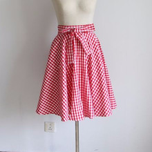 c79665efe5e 30- summer women vintage 50s belted circle swing skirt in red gingham plus  size 4xl skirts rockabilly pinup saia falda