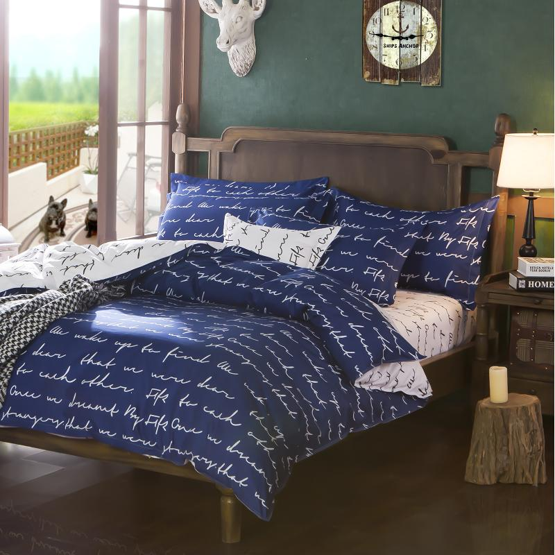 Superb Luxury Royal Blue Twin Full Queen Size Bed Sheets Elegant Bedding With  White Words Print Quilt Covers For Home In Bedding Sets From Home U0026 Garden  On ...
