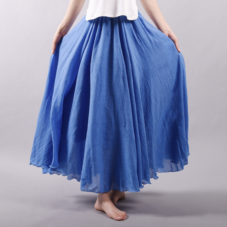 Sherhure 19 Women Linen Cotton Long Skirts Elastic Waist Pleated Maxi Skirts Beach Boho Vintage Summer Skirts Faldas Saia 14