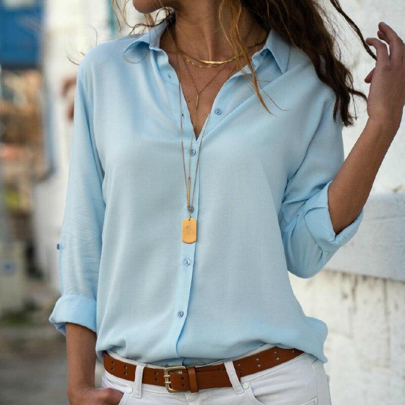 3XL Women Tops Blouses Autumn Elegant Long Sleeve Solid V-Neck Chiffon Blouse Female Sweet Work Wear Shirts Blusa(China)