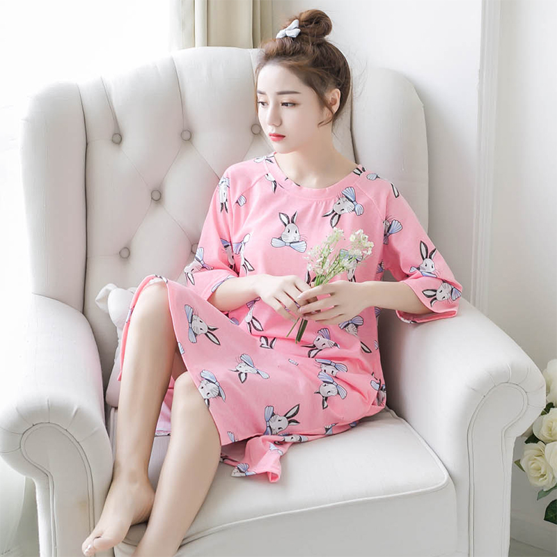 New Summer 100% Cotton Short Sleeve Cartoon Women   Nightgowns     Sleepshirts   Round Neck Sexy Loose Plus Size M-5XL Ladies Nightdress