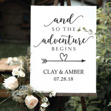 Personalised Bride And Groom Name Wedding Decal Vinyl Adventure Begins Sign Quote Sticker Love Arrow Decor Gift WE05