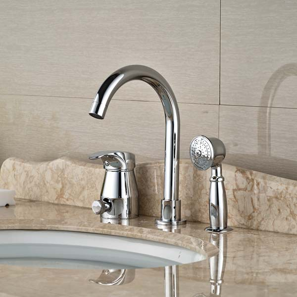 Widespread Chrome Brass Bathroom Tub Faucet W/ Hand Shower Sprayer Mixer Tap newly solid brass 4pcs bathroom tub faucet set chrome finish mixer tap shower tap w brass hand shower sprayer deck mounted