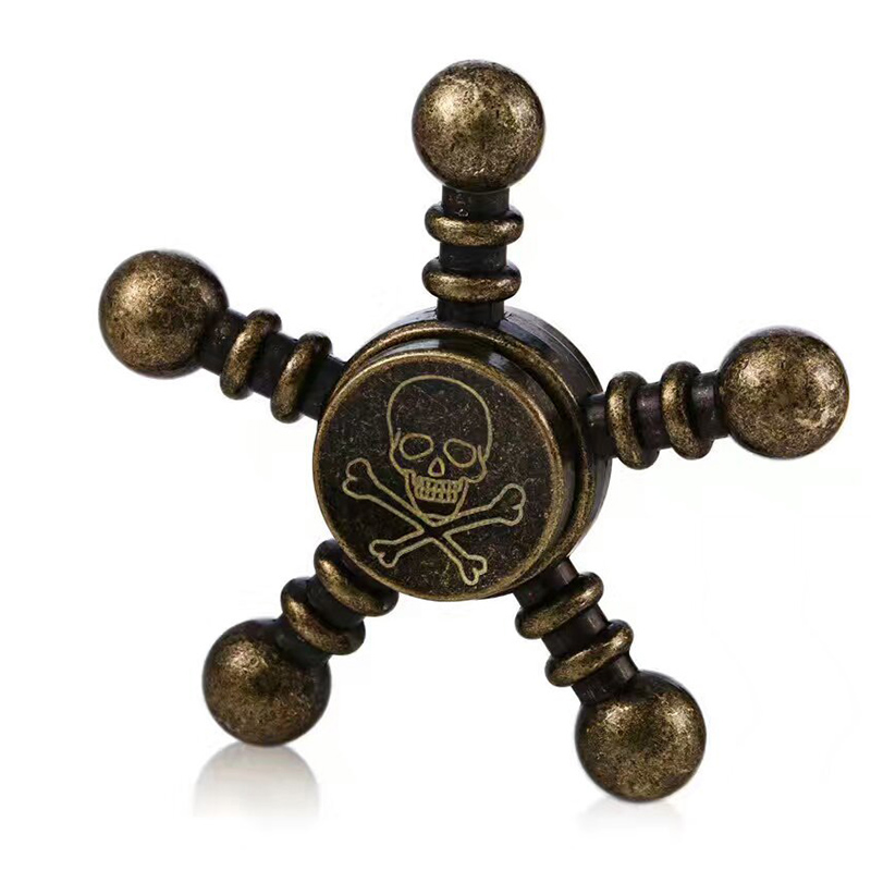 Vintage Style Metal Hand Spinner Aluminium Alloy Cool Pirate Skull Pattern Handspinner Fidget Spinner Stress Release Hand Toys