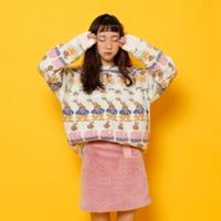 ארנב יפה אקארד סוודרי סוודרים אנגורה נשים סגנון הסטודנטיאלי חמוד Loose נקבה סוודרים סרוגים אביב סתיו חדש עיצוב