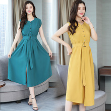 Summer Fashion Women O Collar Button Short Sleeve Sweet Temperament Chiffon A-word Dress