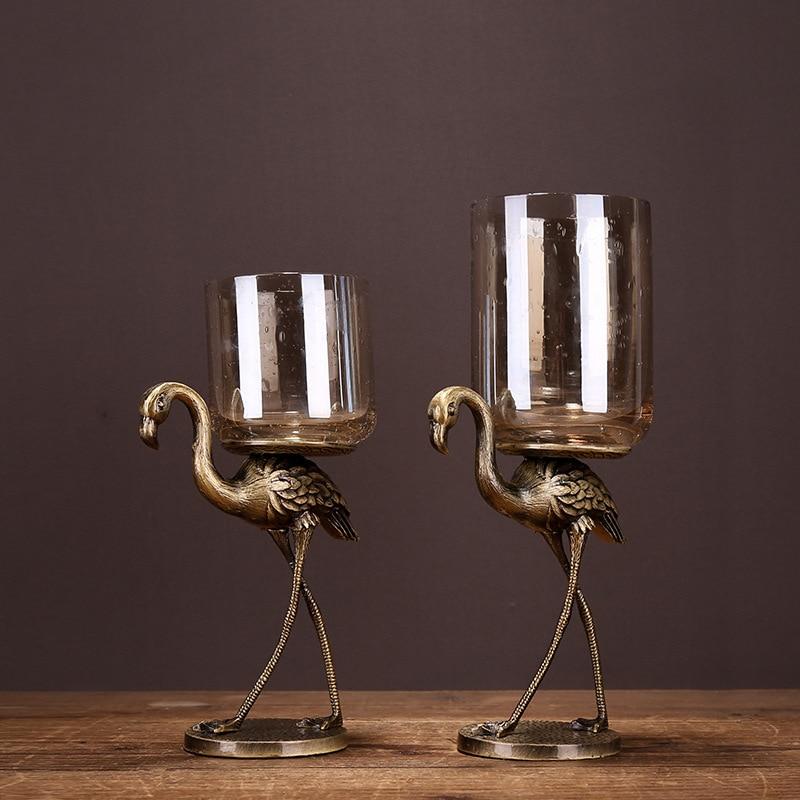 Ev ve Bahçe'ten Mumluklar'de 1 çift Düğün Şamdan Küçük Kuş Şekli Metal Şamdan Yüksek dereceli Cam Şamdan Düğün Şamdan Ev Dekorasyonu'da  Grup 2