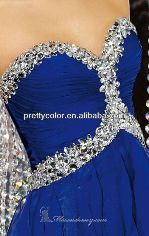 Royal Blue Chiffon Empire Floor Length Sweep Train Beaded Neckline Prom  Dresses For Mature Women-in Evening Dresses from Weddings   Events on  Aliexpress.com ... 8dfd36ed12cd
