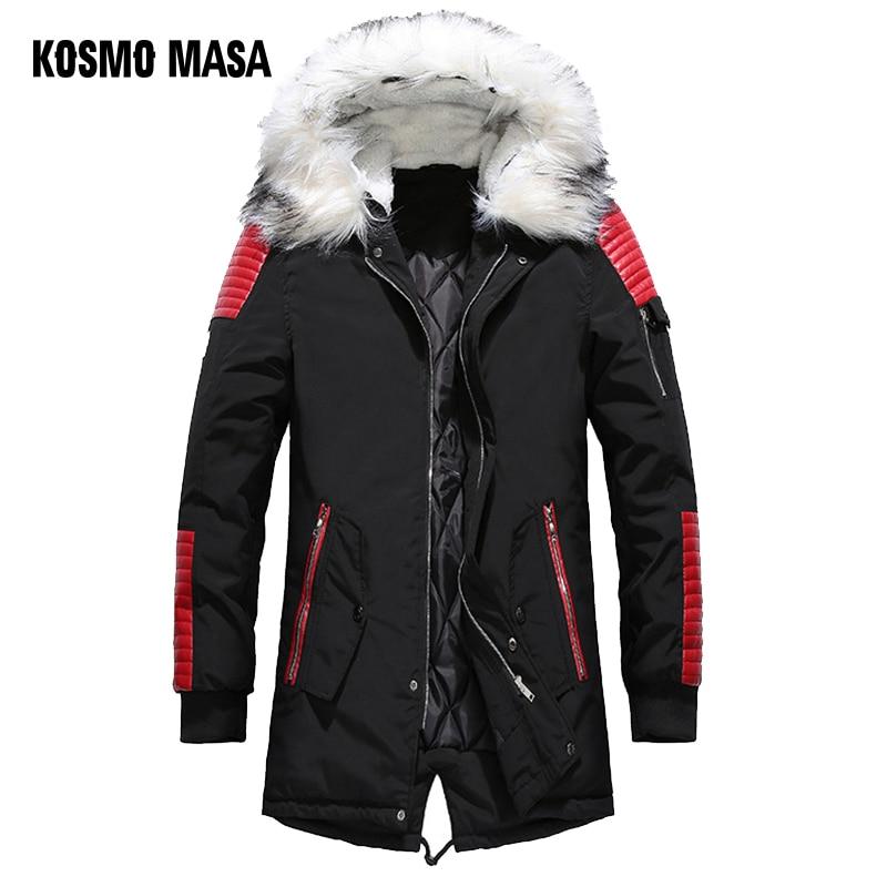 KOSMO MASA Black Long Man Winter Jacket Men Warm Military Fur Hooded 2018 Mens Jackets And Coats Zipper Down Men   Parkas   MP029