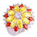Gorgeous Bohemia Style Cluster Flower Series Women Men Citrine Silver Fshion AAA Jewelry Ring Size 6 7 8 9 10 11 12 13 Wholesale