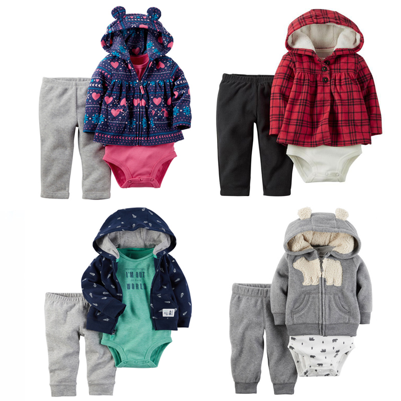 Baby-Boy-Girl-Clothing-set-3-Piece-Bodysuit-Hooded-Long-Sleeve-Outwear-Pants-carter-Cotton-Bebes