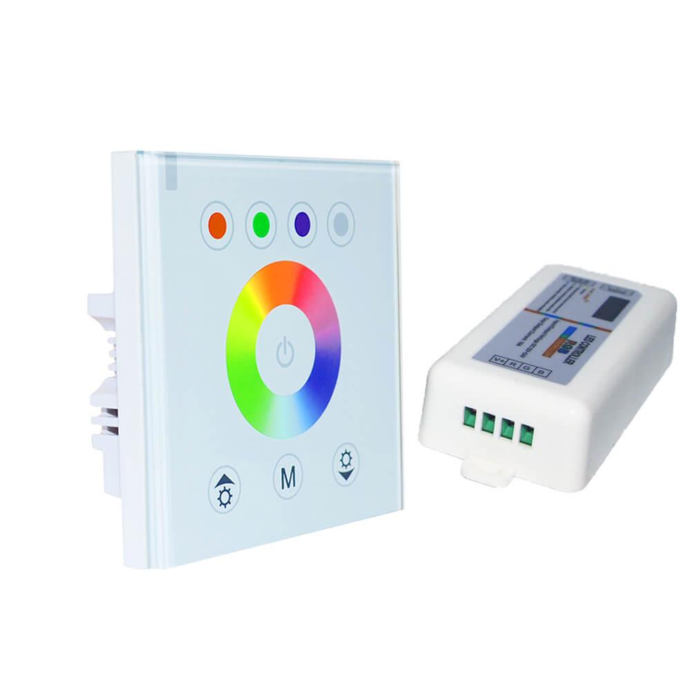 DIY 2.4G bezdrátový nástěnný dotykový panel inteligentní led RGB ovladač vstup AC90-260V pro RGB led strip 2 -pack
