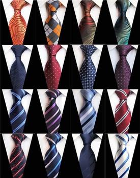 цена на 8cm Mens Ties Man Fashion Polka Dot Plaid Striped Floral Neckties Corbatas Gravata Jacquard Navy Wine Blue Business Tie for Men