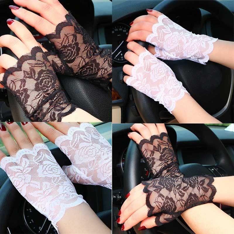 Long Fingerless Womens Sexy Lace Gloves  Winter White Black Ladies Half Finger Fishnet Gloves Heated Mesh Mitten Gants Femme