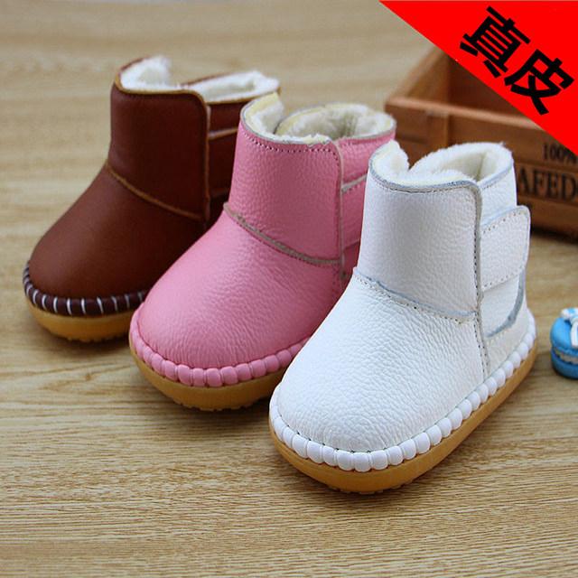 Venda quente 2016 de Couro Genuíno Do Bebê À Prova D' Água Sapatos de Sola Macia Do Bebê Botas de Neve Meninos Meninas Primeiro Caminhantes Crianças Frete Grátis