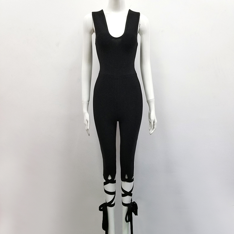 Night Femmes Fashion Club Bandage Rayonne Celebrity Salopette Party Combinaisons Sexy Noir Moulante wFTXtxq