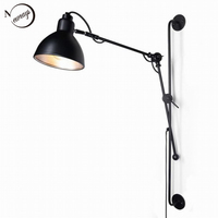 New Replica Designer adjustable antique modern industrial Long swing arm black wall lamp E27 lights for Bathroom sconce fixture