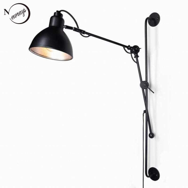 Nordic Classic adjustable modern industrial Long swing arm black wall lamp sconce vintage E27 lights for Bathroom bedroom foyerNordic Classic adjustable modern industrial Long swing arm black wall lamp sconce vintage E27 lights for Bathroom bedroom foyer