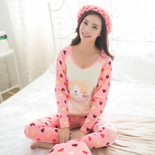 2017 primavera cat padrão dos desenhos animados rosa pijamas conjuntos pijamas mulheres pijamas mujer femme manga longa sleepwear homewear feminino m ~ xl