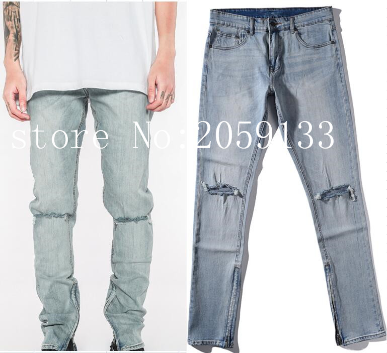 Hot New Fashion Kanye West Biker Knee Ripped Destroyed