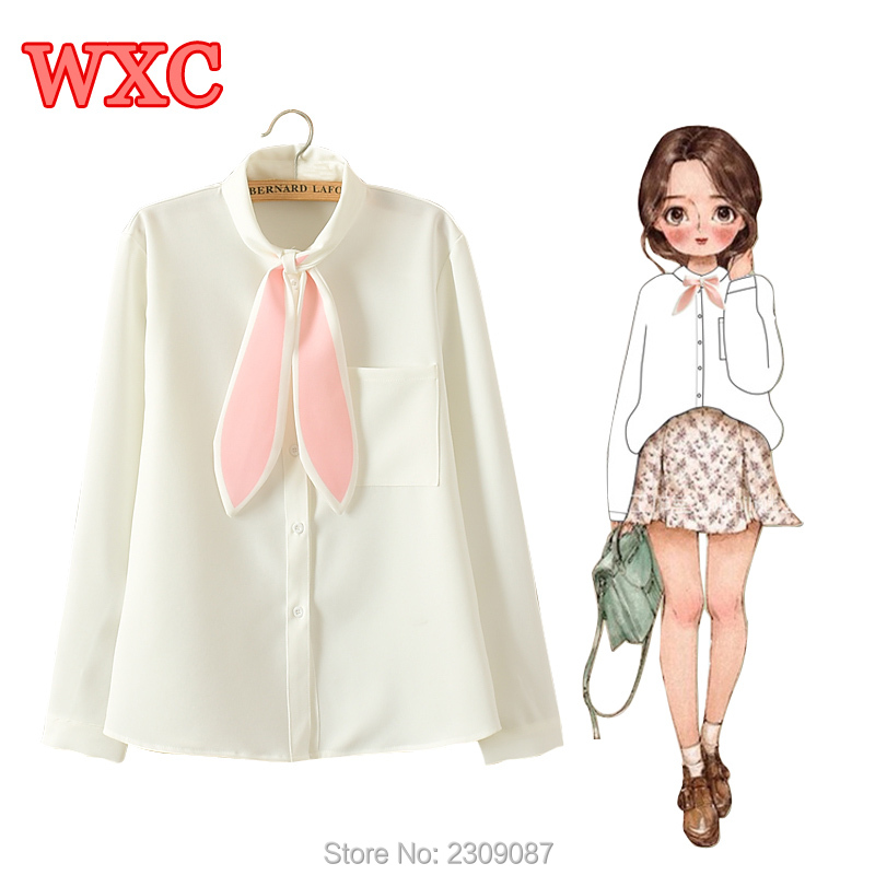 Lolita Cute Rabbit Ears Bow Tie Blouses Preppy Style Schoolgirl Students Fresh Blouse Kawaii Mori Bottoming Shirt Women Tops WXC