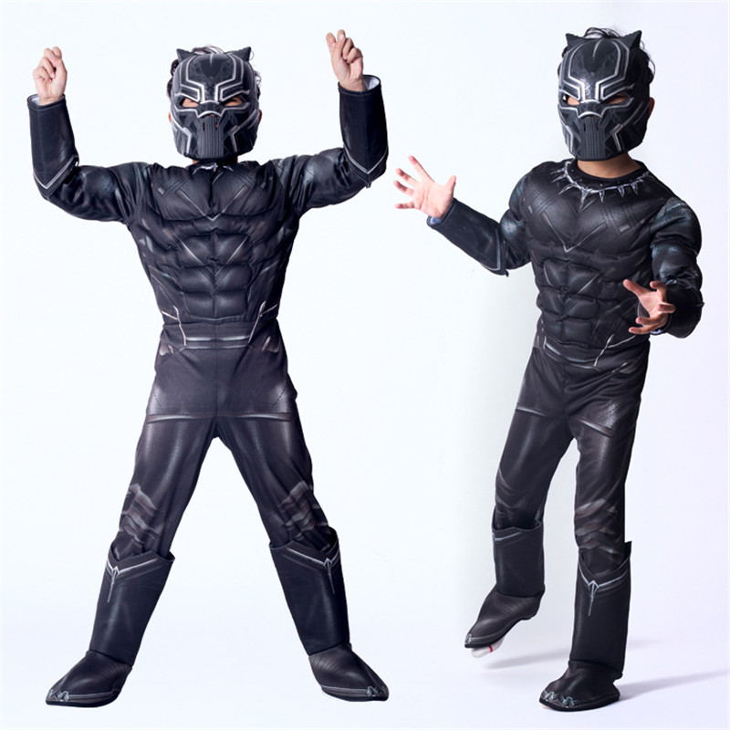 2018 new high quality Halloween party Black Panther Civil War Cosplay Costume Cosplay Suit  Superhero Costume for kids