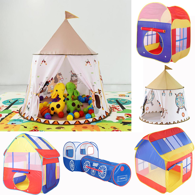 19 Style Kid Tent House Portable Princess Castle 123*116cm Present Hang Flag Children Teepee Tent Play Tent Birthday Gift