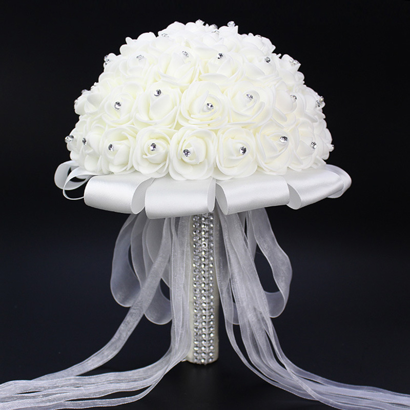 2016 Artificial Rose Foamflower Bridesmaid Wedding Bridal Bouquet White Satin Crystal Wedding Bouquets Bouquet De Mariage