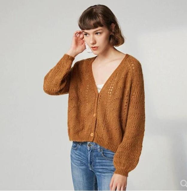 832d657f6 € 60.72  Aliexpress.com: Acheter Mélange de laine Mohair français Chic  évider pull tricoté col en V manches Raglan Cardigans à manches longues ...