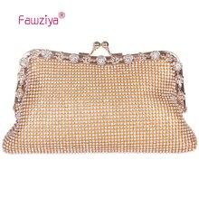 Fawziya Fashion Evening Bag Kisslock Purse Soft Rhinestone Crystal Clutch Evening Bag