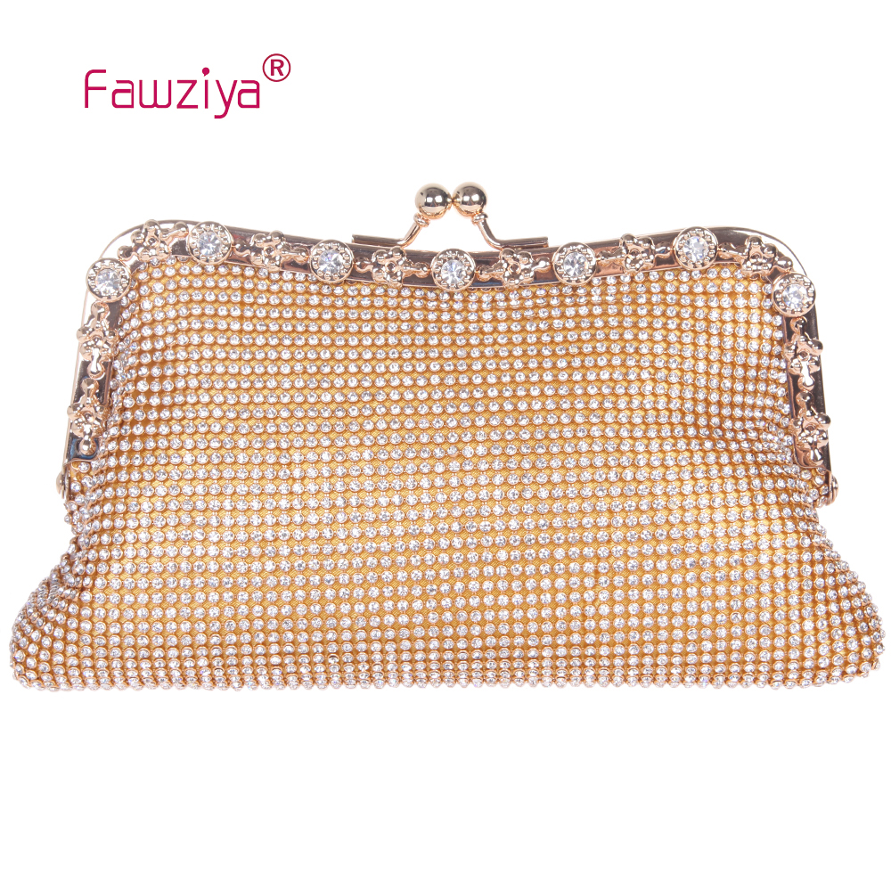 Fawziya moda cristal rhinestone embrague noche bolsa bolso de noche kisslock mon