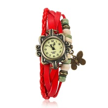 Hot vintage woman leather bracelet watch charm butterfly pendant quartz Wristwatches Female street style accessories Relogio