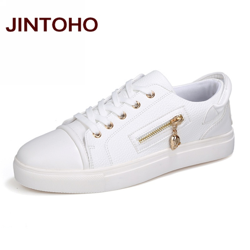 5e5c87cc85a JINTOHO Spring Autumn Fashion Men Casual Shoes White Zip Mens Shose Luxury  Brand Designer Shoes Men